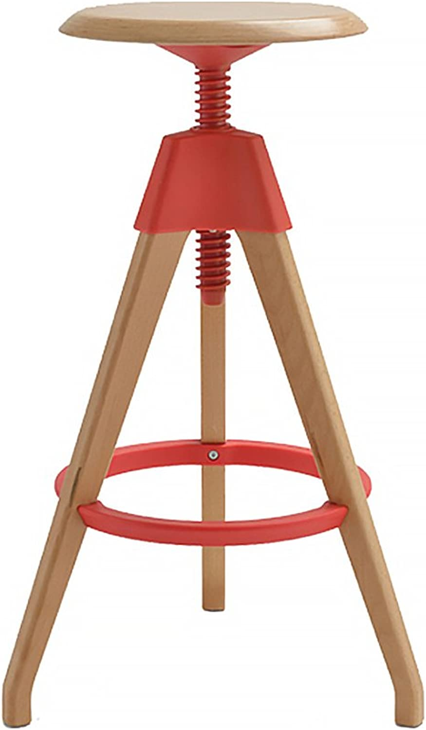 BO WEN HOME- Modern Front Bar Chairs, Solid Wood High Stool, Seat Height 68-76cm ( color   Red )