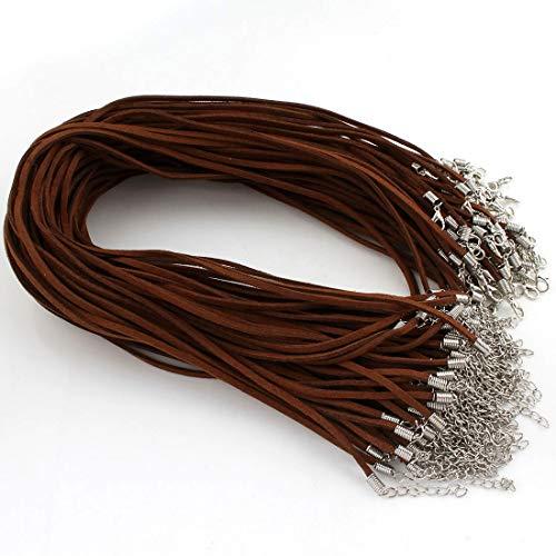 Perlin 10stk. Halsband Velour Lederband Halskette 46cm Schmuckband Kette mit Karabinerverschluss und Verlängerungskette Band Halsketten für DIY Schmuck Herstellung (Braun)