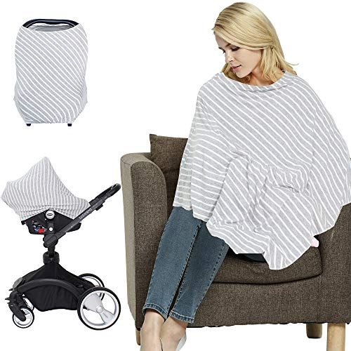 LifeTree Multi-Use Nursing Cover Poncho | Breastfeeding Cover | Shopping Cart Cover | Maternity Top | Extra Soft and Stretchy Baby Car Seat Cover Canopy