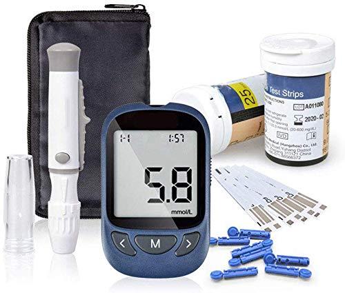 Glucosio nel sangue kit monitoraggio dello zucchero nel sangue test della glicemia con 50 strisce reattive e 50 lancette per diabetici in mg/dL di Exactive VITA