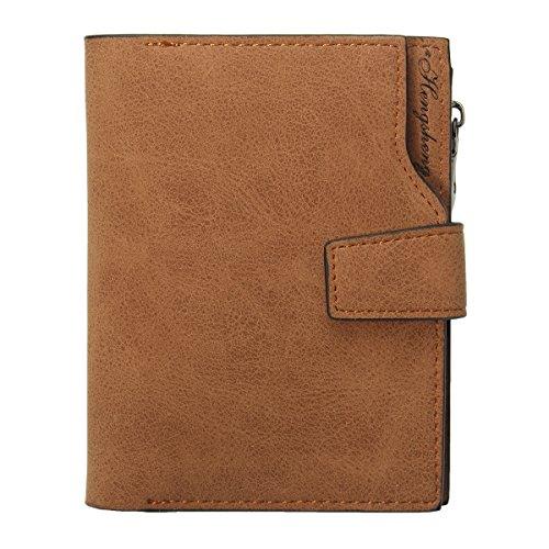 Tezoo Damen Geldbeutel, Tezoo Brieftasche aus hochwertigem Leder Multifunktion Große Kapazität mit Reißverschluss und Knopf Geld-Börse Mappe Geldtasche Portemonnaie Wallet 12,5 x 9,5 x 1,5 cm Kaffeebraun