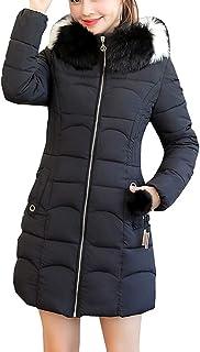 ZiXing Women Winter Hooded Warm Parkas Faux Fur Collar Hooded Lined Jacket Coats