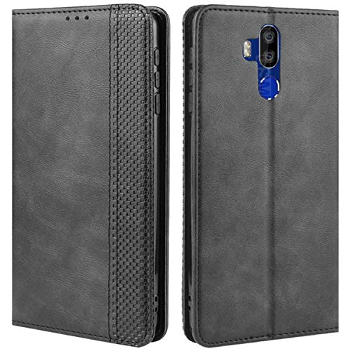HualuBro Oukitel K9 Case, Retro PU Leather Wallet Flip Folio Shockproof Phone Case Cover with [Kickstand] [Card Slots] [Magnetic Closure] for OUKITEL K9 4G Volte Smartphone (Black)