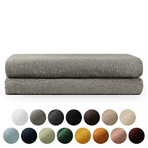 Blumtal 2er Set Badtücher 70x140cm - Handtücher Set, weich und saugstark, 100% Baumwolle, Oeko-Tex 100 Zertifiziert, Grau