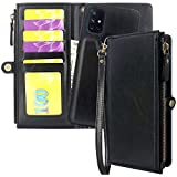 CMIDUS [ 5 Credit Card Slots Zipper Wallet ] Detachable Magnetic Flip Case Cover Pouch Bag Removable Cover Wrist Strap ID Holder Pocket Handbag for Oneplus 1+ Nord N10 5G(Not for N100) (Black)