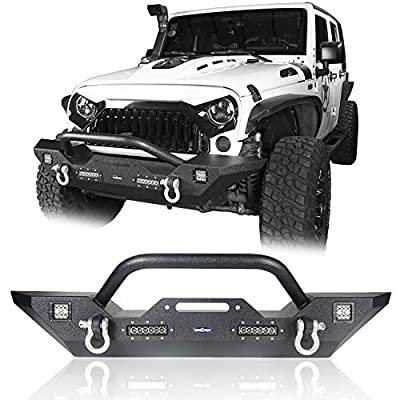 Hooke Road Different Trail Front Bumper w/Winch Plate & 4X LED Accent Lights Compatible with Jeep Wrangler JK & Unlimited 2007-2018 (Textured Black Finished)