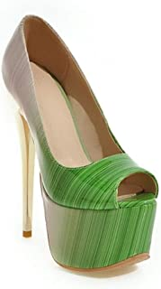 Fish Mouth Platform High Heels For Banquet Wedding Dress Daily (Color : Green, Size : 35)