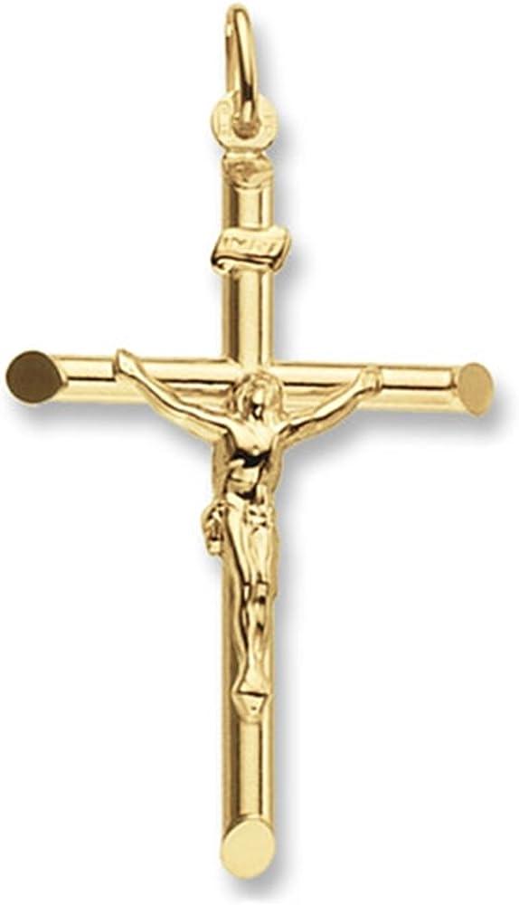 Collana da uomo in oro 9 kt/375 con ciondolo a forma di crocifisso (2 gr) 3855-GM18