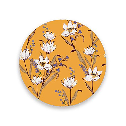 CHEHONG Posavasos absorbentes con flores blancas y fondo naranja de cerámica base de corcho taza de café esterilla decoración del hogar tazas de cristal mesa de comedor 1 2 4, Cerámica + base de corcho., Color, Set of 1