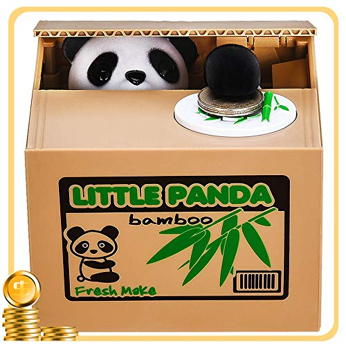 Piggy Bank HmiL-U Automatic Stealing Coins Cents Penny Christmas/Birthday Gift for Kids (Panda)