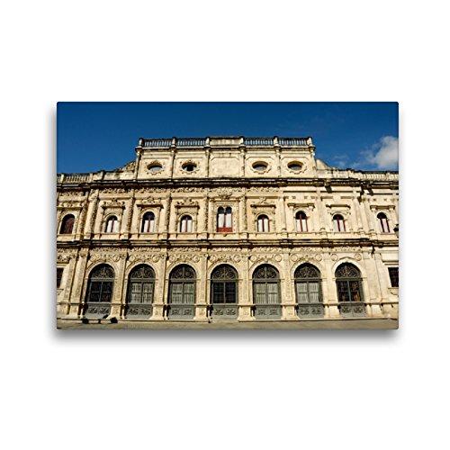 CALVENDO Lienzo Premium de 45 cm x 30 cm Horizontal, Imagen de la casa de la Ciudad Sevilla sobre Lienzo, Lienzo: fachada histórica de la casa de la Rata en Sevilla Orte Orte