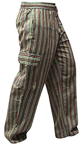 Pantalones Shopoholic Fashion, hippies, de pierna ancha, unisex, bolsillos laterales, diseño de rayas Verde Green MIX XXXL