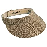 "Scala Ladies Sun Visor Wide Brim Straw Boating Hat 3.5"" Lightweight Comfortable Straw Visor for a Sunny Day"