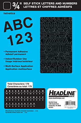 Headline Sign 31911 Stick-On Vinyl Letters and Numbers, Black, 3/4-Inch
