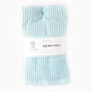CLEAN MAMA Bar Mop Cleaning Towels, Aqua Set of 4, 100% Cotton Kitchen Utility Towels