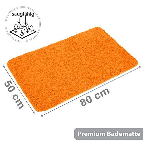 PANA Flauschiger Badvorleger in versch. Farben und Größen   Badteppich aus weichen Mikrofasern - rutschfest & waschbar   Duschvorleger 50 x 80 cm