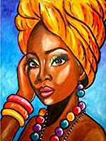 5 dダイヤモンドダイヤモンドの刺繍円形のラインストーン/5D DIY Diamond Embroidery African girl Full Square Round Rhinestone Mosaic Painting Cross Stitch Flowers Diamond Kit (Ground Diamond,60X44CM(24X17in))