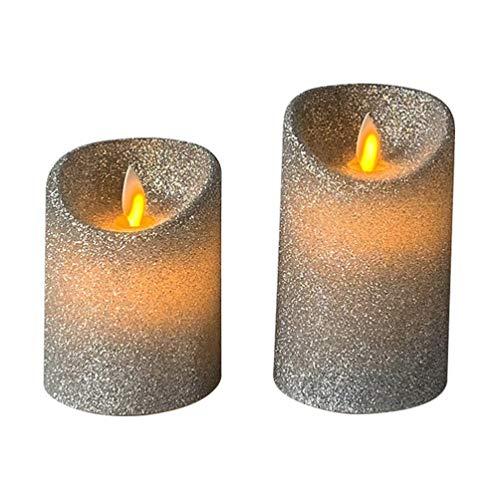 Uonlytech - Velas LED sin llama con purpurina, velas eléctricas, velas de té, decoración para Navidad, bodas, cumpleaños, en casa (plata, dos tamaños), parafina, plata, Größe 1