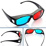 3D Glasses Red and Cyan Anaglyph - OVERSIZE Classic Plastic Style - YOUTUBE - 1 Pair