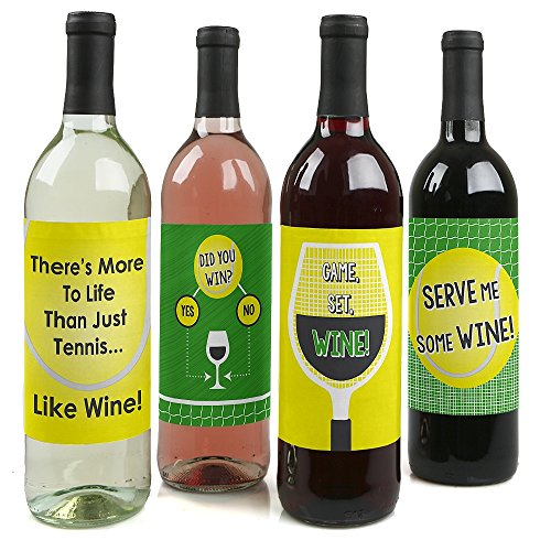 You Got Served - Tennis Decorations for Women and Men - Tennis Ball Party Wine Bottle Label Stickers - Set of 4