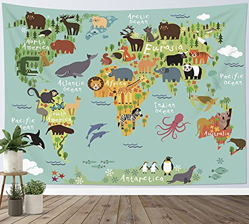 Product Image of the LB World Map Tapestry Wall Hanging Various Cartoon Animals Tapestrise World...