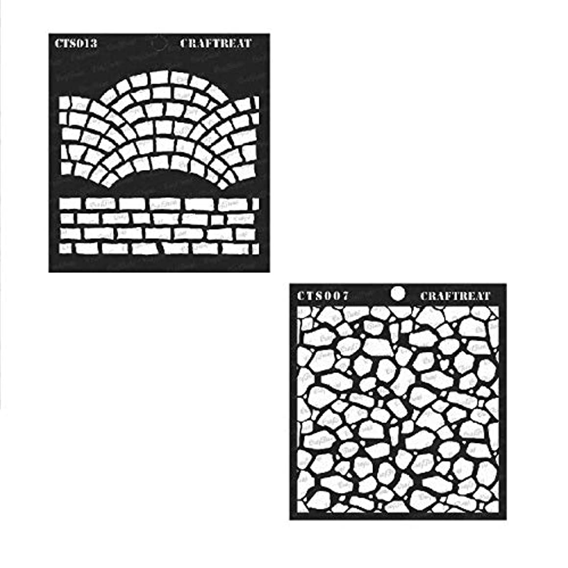 CrafTreat Stencil - Fancy Bricks & Stone Background (2 pcs) | Reusable Painting Template for Home Decor, Crafting, DIY Albums, Scrapbook and Printing on Paper, Floor, Wall, Fabric, Wood 6