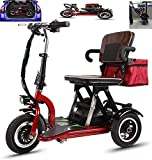 CYGGL Elderly Mobility Scooter, the Disabled 3 Wheeled Electric Mobility Scooter Foldable - 300W Motor - 20km/H - 3 Speed Adjustment - With Reverse Gear