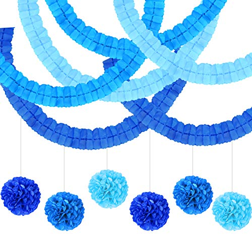 JOOPOM 6Pcs Blue Tissue Paper Pompoms 6Pcs Colorful Paper Garlands Tissue Paper Flower for Wedding Birthday Baby Shower Baptism Party Decor