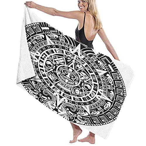 Toalla de Playa de Microfibra de Secado rápido, Calendario Maya Egipcio, Antiguo Mystical Nat, Toalla Suave y Ligera para Acampar, Viajar, Nadar en la Playa, Yoga, Gimnasio, 52 'x 32'