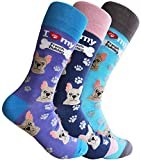 Sock Society I Love Dogs French Bulldog Unisex Men Women Fun Dress Casual Pattern Crew Funny Socks (3-pack)