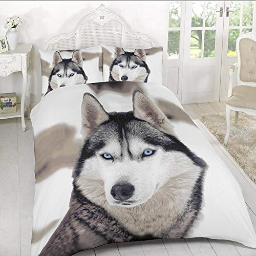 A&R New 3D Effect Duvet Cover, Bedding Sets Printed on Polyester Stuff with Pillowcases in Double, King Size (Double, Wolf)