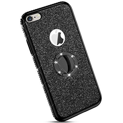 Ysimee kompatibel mit iPhone 6 /iPhone 6S Hülle, Bling Schutzhülle Glänzend Weiche TPU Silikon HandyHülle Bumper Case mit Ring 360 Grad Ständer, Diamant Glitzer Case, Schwarz