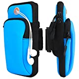 Venoro Sports Armband, Running Fitness Double Pockets Universal Smartphone Arm Bag with Earphone Hole for iPhone SE 11 Pro Galaxy Note 10 Plus 5G S10 S9 A10E A20 Galaxy S20 Plus S20 (Blue)