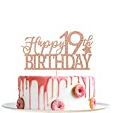 Rose Gold Glitter Happy 19th Birthday Cake Topper - Hello 19 - Cheers to 19 Years Party Decoration Supplies