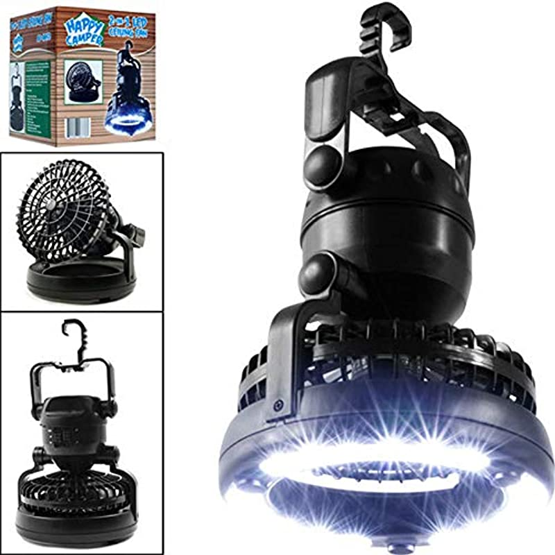 Gotian 2in1 Portable 18 LED Tent Camping Light With Ceiling Fan Hiking Outdoor Lantern Keep You Cool And Comfortable Inside Or Outside Of Your Tent