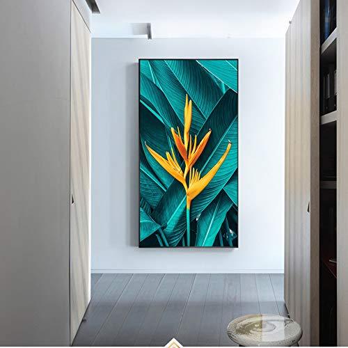 N / A Green Leaf Yellow Flower Leinwand Malerei Pflanze Wandkunst Bilder für Wohnzimmer Home Poster und Drucke Rahmenlos 70x120cm