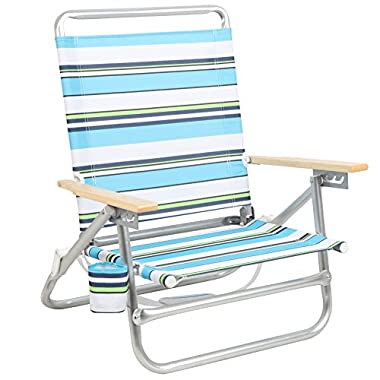 PORTAL Folding Camping Sand Beach Chair, Aluminum Lightweight 4 Positions Chair Recliner with Wood Handle Cup Holder Carry Strap