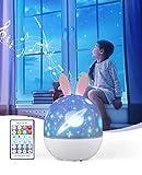 Bluefire Lampara Proyector Infantil,Lámpara Nocturna LED para Bebé 6 Película de Proyección con Mando Distancia 8 Música 360 Rotación, Proyector de Estrella Regalo para Niños.
