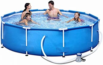 BHDYHM 305×76 cm Swimming Pool Paddling Pool Round Frame Above Ground Pool Pond Family Swimming Pool Metal Frame Structure Pool