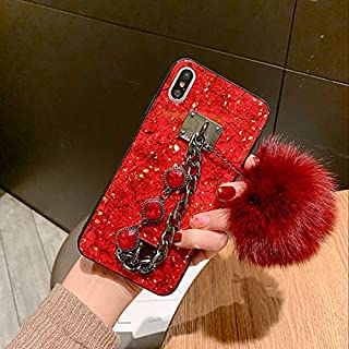 MayCase iPhone 11 Pro Max Bracelet Case with Fur Ball, Luxury Stylish DIY Handmade Fluffy Fuzzy Pompom Plush Hairball Diamond Rhinestone Hand Chain Strap Holder Hard PC Case for iPhone 11 Pro Max