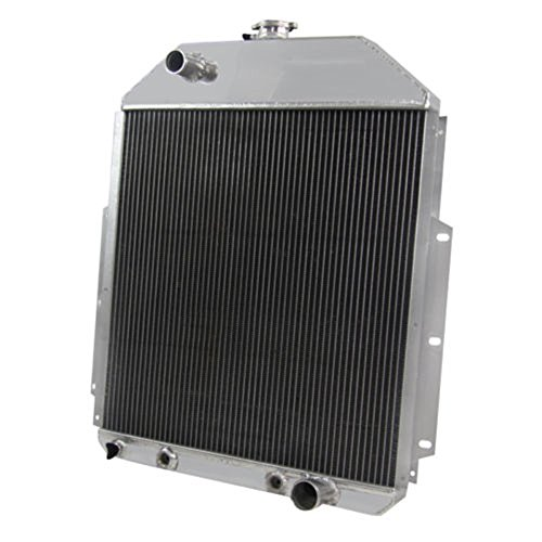 OzCoolingParts 42-52 Ford F-Series Radiator, 4 Row Core Full Aluminum Radiator for 1948-1952 Ford F1 F2 F3 F4 Pickup Truck, 1942-1947 Ford 1/2 Ton Pickup 3/4Ton Pickup, Chevy V8 Engine