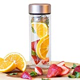 Light weight Double Glass Wall Bottle with Removal Infuser Basket. Double Walled Vacuum Insulated Tea Cup. Leak-Proof Travel Mug, Portable Daily Water Bottle.
