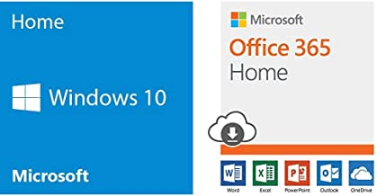 Microsoft OEM Windows 10 Home, 64-Bit, 1-Pack, DVD + Microsoft Office 365 Home | 12-month subscription, up to 6 people, PC/Mac Download Bundle