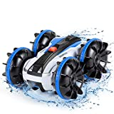 Remote Control Car Boat Truck - Pool Toys Gift 4WD 2.4Ghz Amphibious Vehicle RC Off Road All Terrain Stunt Car for Kids 3 4 5 6 7 8 Years Old