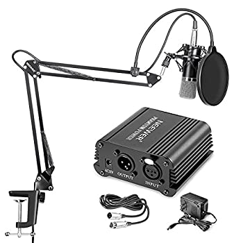 Neewer NW-700 Professional Condenser Microphone & NW-35 Suspension Boom Scissor Arm Stand with XLR Cable and Mounting Clamp & NW-3 Pop Filter & 48V Phantom Power Supply with Adapter Kit