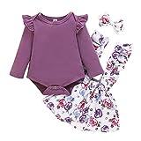DERCLIVE 3Pcs Kleinkind Mädchen Outfits Baby Strampler Kleidung Set Overall + Riemenrock + Stirnband Lila