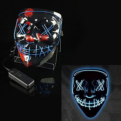 Beeptrum Máscara de payaso de Halloween, máscara facial LED con iluminación para disfraz y fiesta de cosplay, material ajustable y respetuoso con el medio ambiente para hombres, mujeres y niños (azul)
