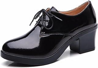 d06dba409da2d4 Moonwalker Chaussures Femme/Bottines à Lacets en Cuir à Talon Haut