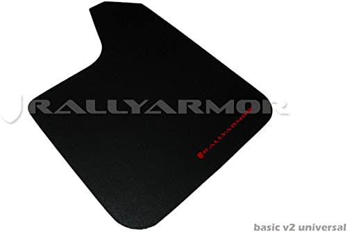 Rally Armor MF12-BAS-RD Basic Black, Red Mud Flap with Logo (Universal Fitment (no Hardware))
