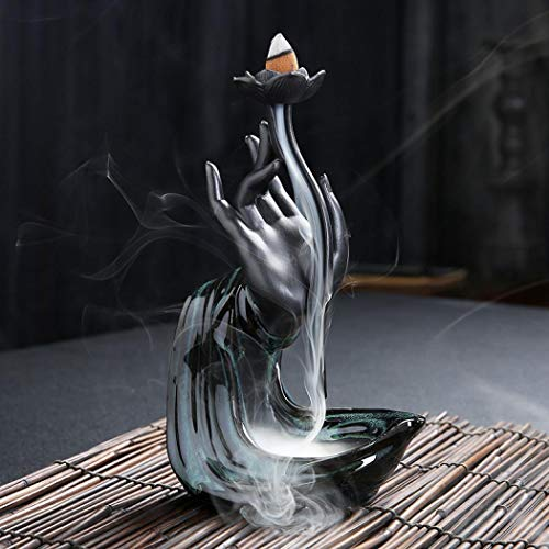 Lotus Hand Ceramic Censer Backflow Incense Holder Waterfall Incense Burner, Aromatherapy Ornament Home Decor with 10 Backflow Incense Cones Free (Style2 130x210mm)